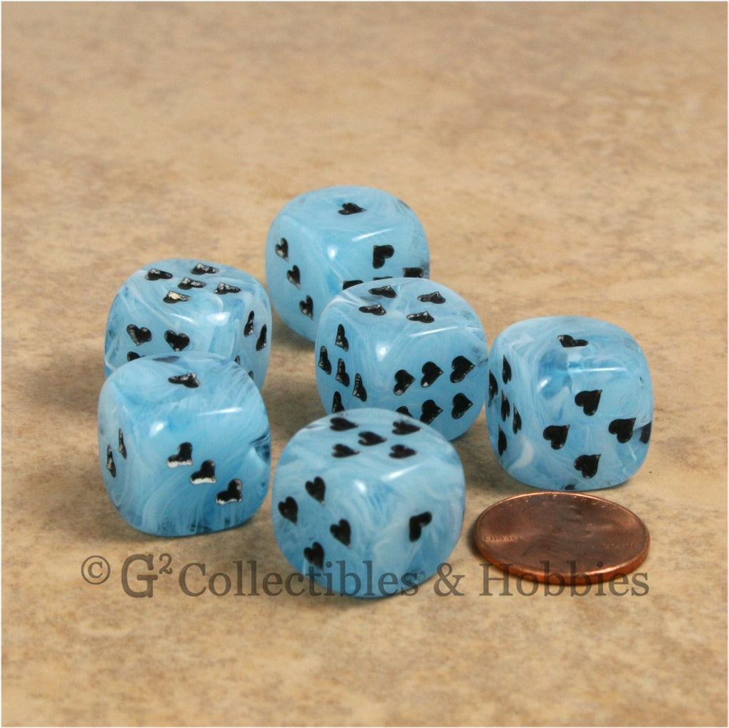 D6 16mm Cirrus Swirl with Heart Pips 6pc Dice Set - Blue