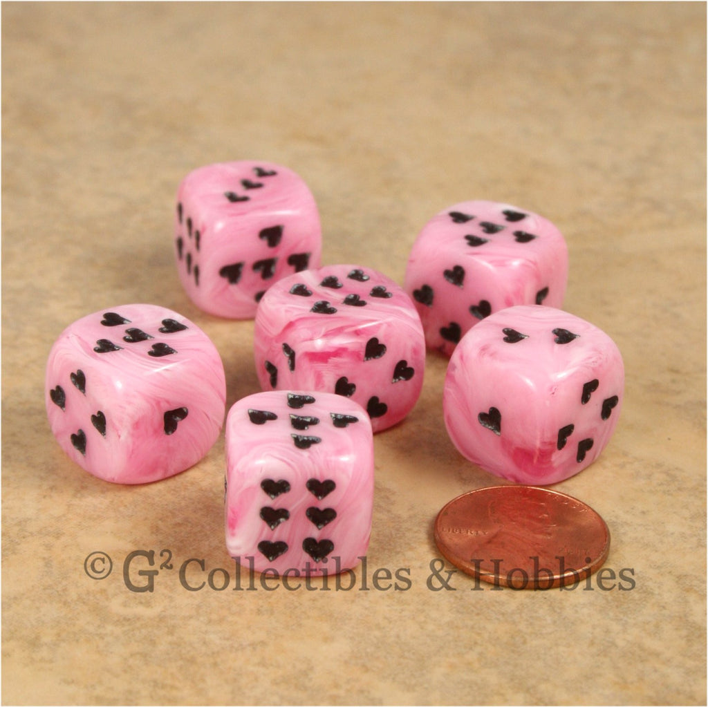 D6 16mm Cirrus Swirl with Heart Pips 6pc Dice Set - Pink