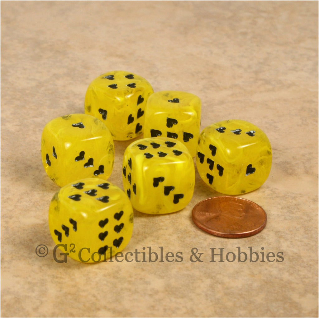 D6 16mm Cirrus Swirl with Heart Pips 6pc Dice Set - Yellow