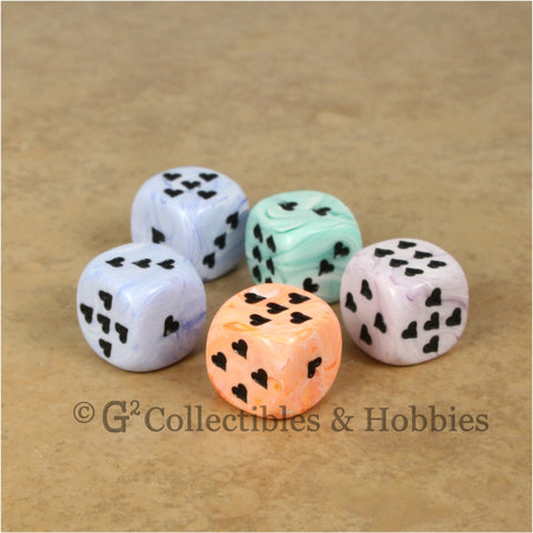 Copy of D6 16mm Ice Cream Swirl with Heart Pips 5pc Dice Set - 4 Colors