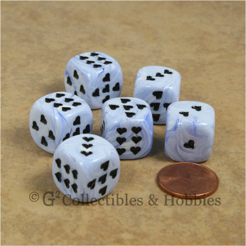 D6 16mm Ice Cream Swirl with Heart Pips 6pc Dice Set - Blue