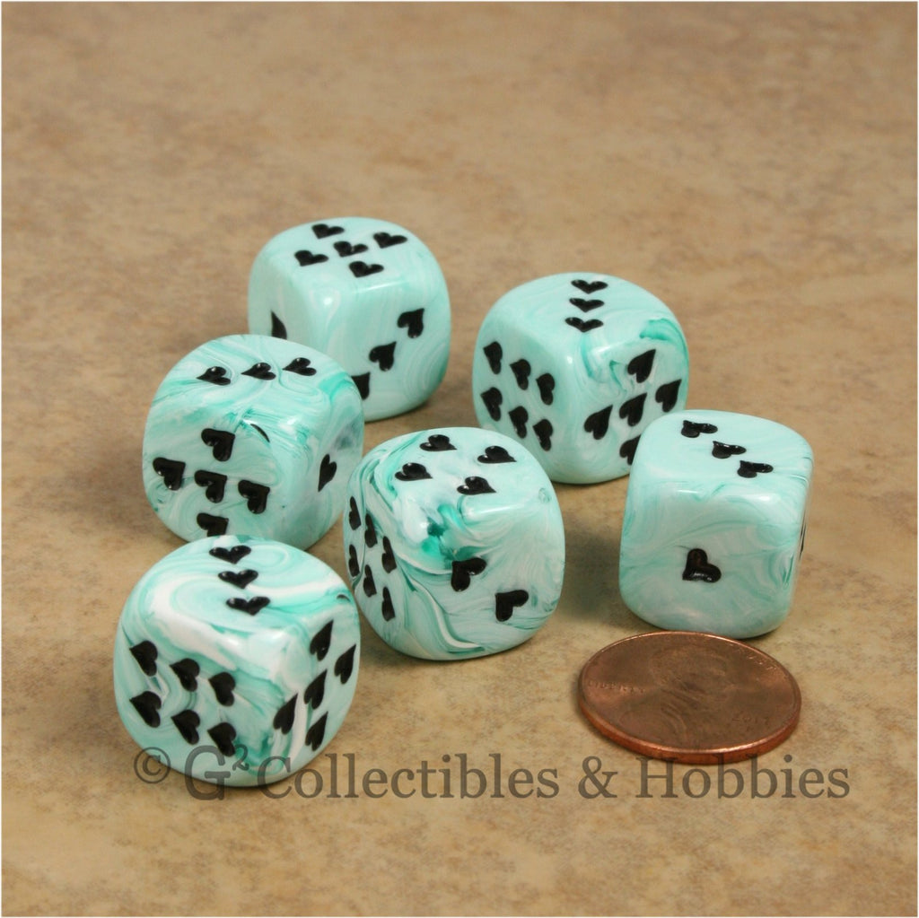 D6 16mm Ice Cream Swirl with Heart Pips 6pc Dice Set - Green