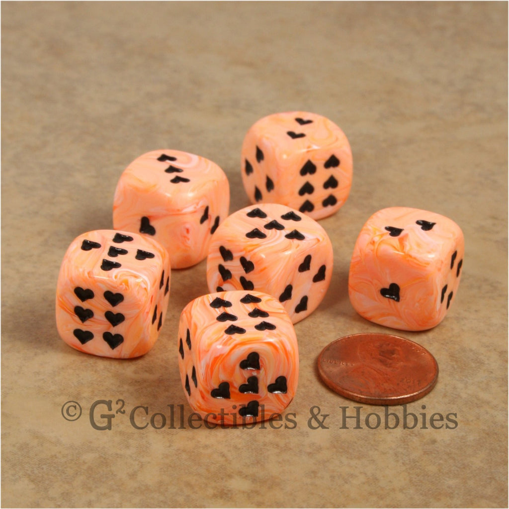 D6 16mm Ice Cream Swirl with Heart Pips 6pc Dice Set - Orange