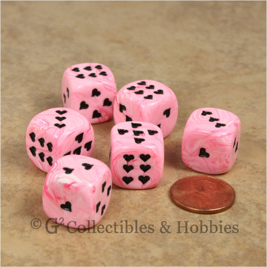 D6 16mm Ice Cream Swirl with Heart Pips 6pc Dice Set - Pink