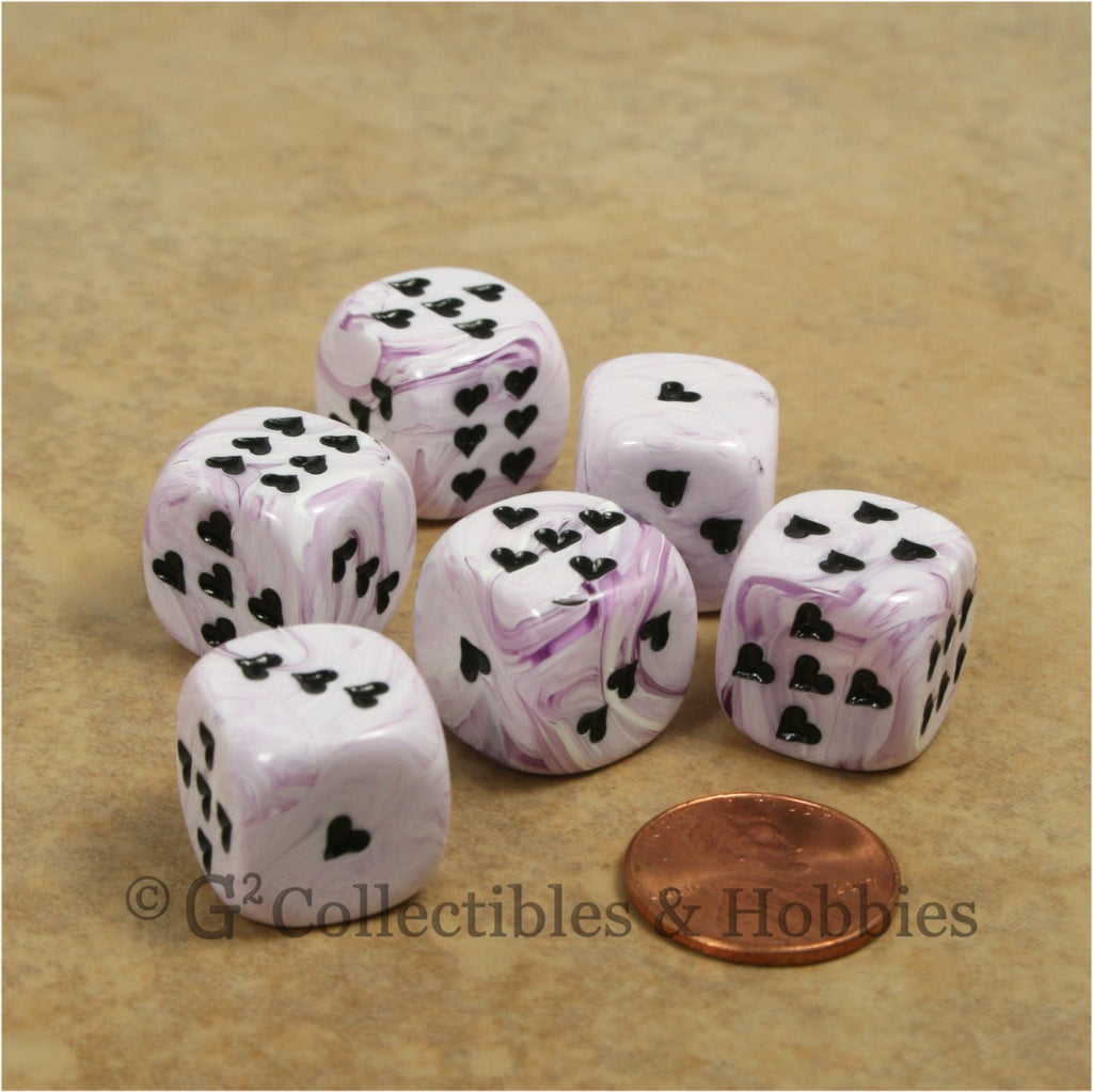 D6 16mm Ice Cream Swirl with Heart Pips 6pc Dice Set - Purple