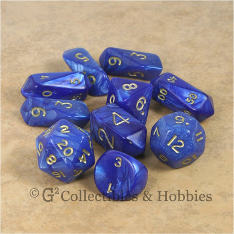 RPG Dice Set Hybrid Pearl Blue with Gold Numbers 10pc