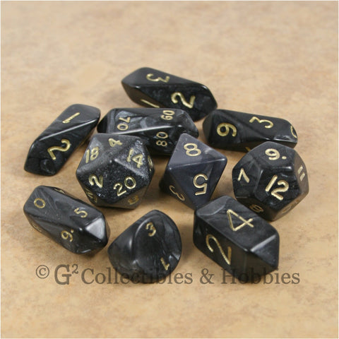 RPG Dice Set Hybrid Pearl Black with Gold Numbers 10pc