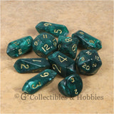 RPG Dice Set Hybrid Pearl Green with Gold Numbers 10pc