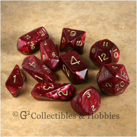RPG Dice Set Hybrid Pearl Burgundy Red with Gold Numbers 10pc