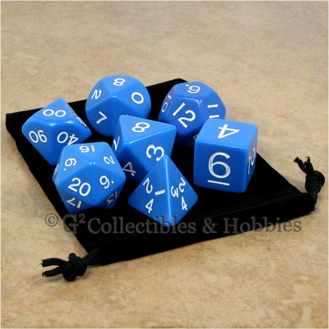 Jumbo RPG 7pc Dice & Bag Set - Blue with White Numbers