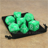Jumbo RPG 7pc Dice & Bag Set - Green with White Numbers