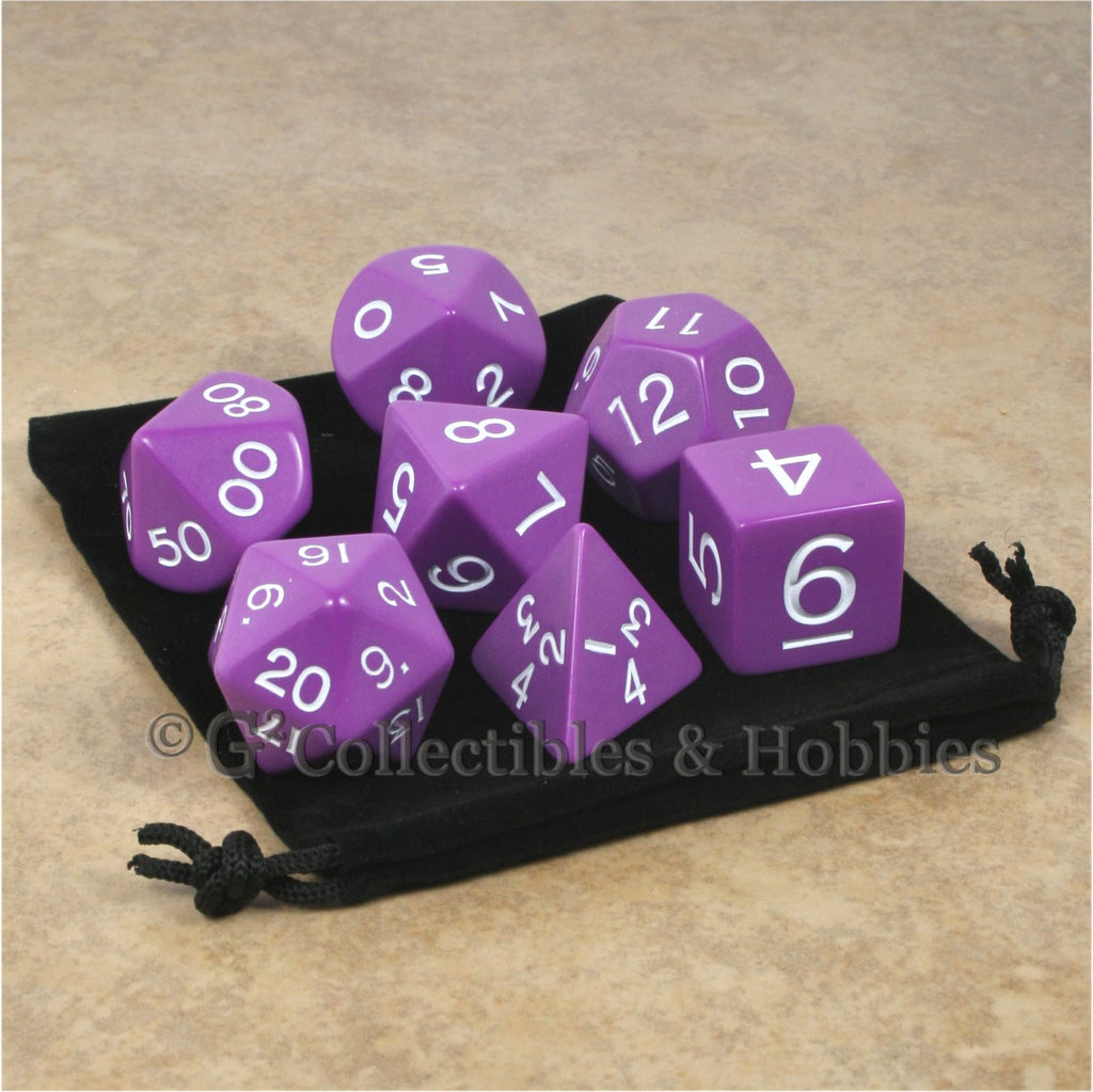Jumbo RPG 7pc Dice & Bag Set - Purple with White Numbers