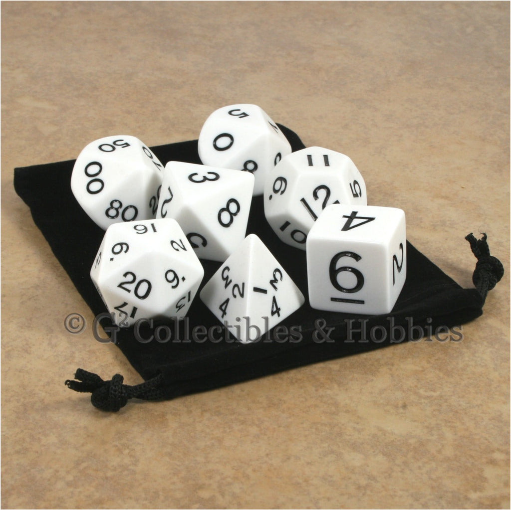 Jumbo RPG 7pc Dice & Bag Set - White with Black Numbers