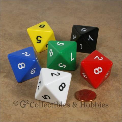 D8 Jumbo 25mm Opaque 6pc Dice Set - 6 Colors