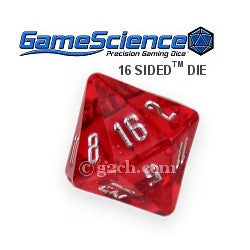 D16 Transparent Ruby Red Gamescience Gem Die