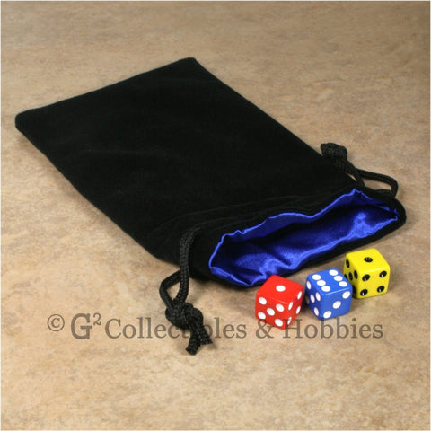 Dice Bag: Large Black Velvet with Blue Satin Lining