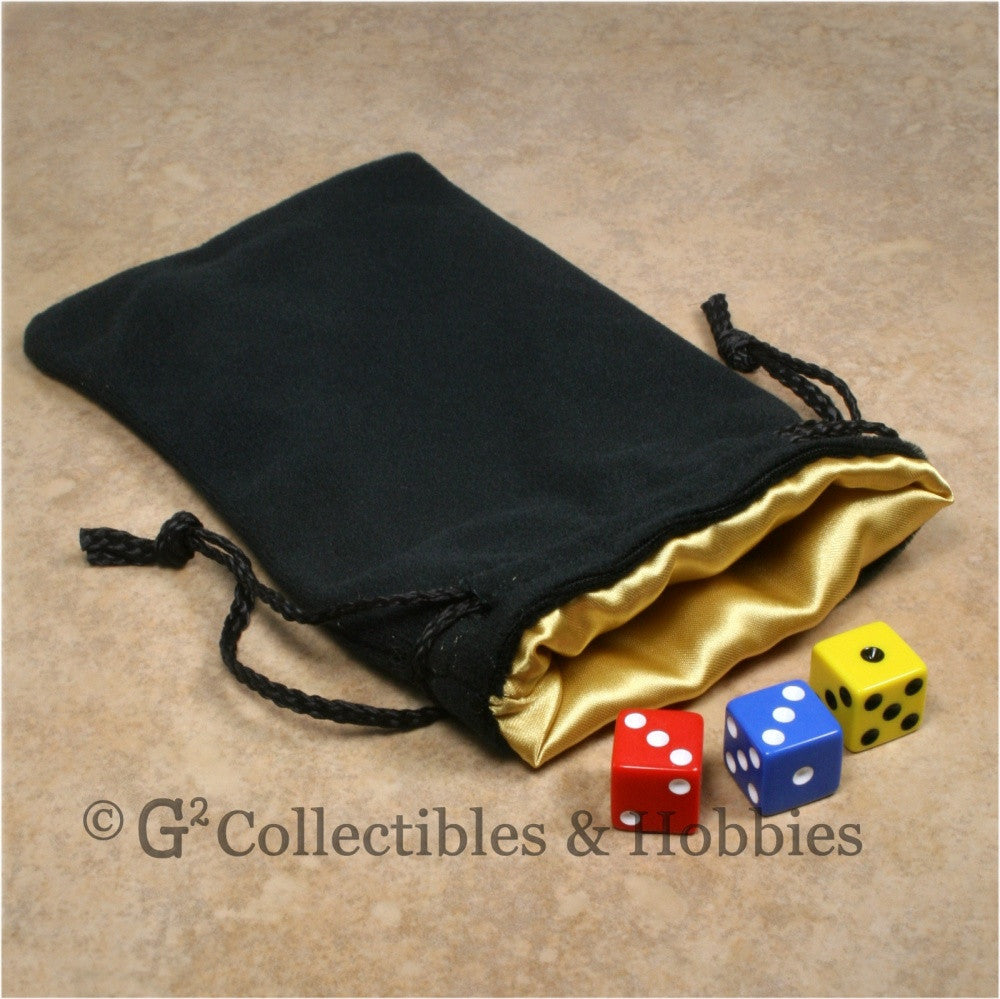 Dice Bag: Large Black Velvet with Yellow Gold Satin Lining