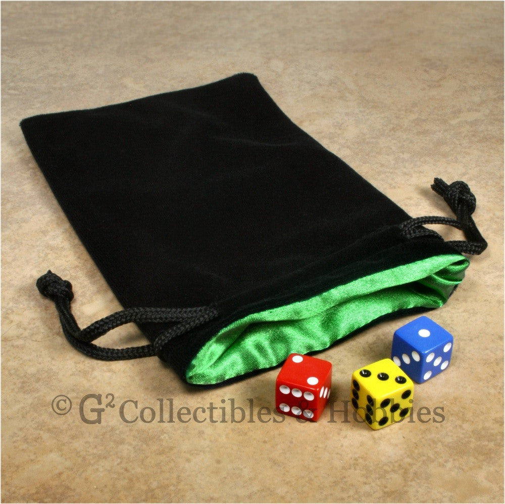 Dice Bag: Large Black Velvet with Green Satin Lining