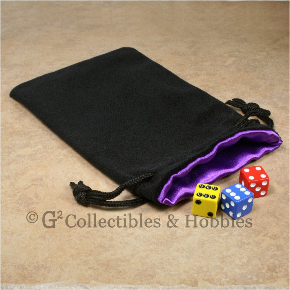 Dice Bag: Large Black Velvet with Royal Purple Satin Lining