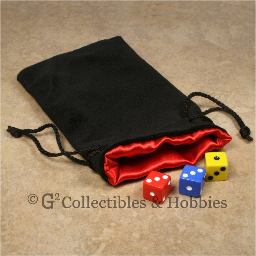 Dice Bag: Large Black Velvet with Red Satin Lining