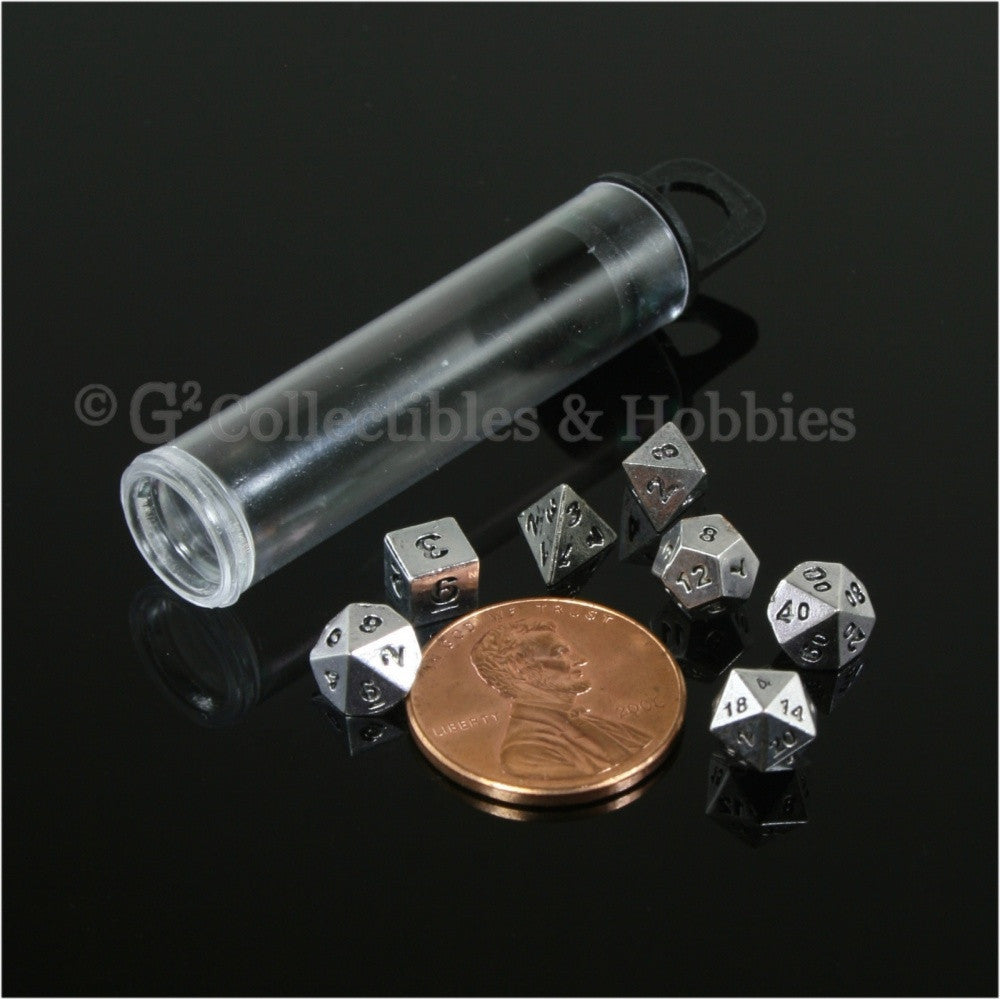 Miniature RPG Dice Set Micro Metal Silver-Colored 7pc