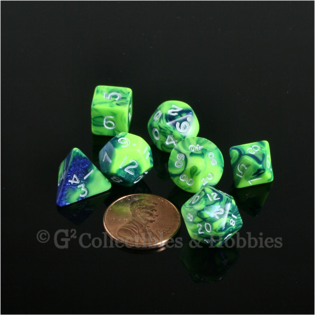 Miniature RPG Dice Set Toxic Green Blue with White Numbers 7pc