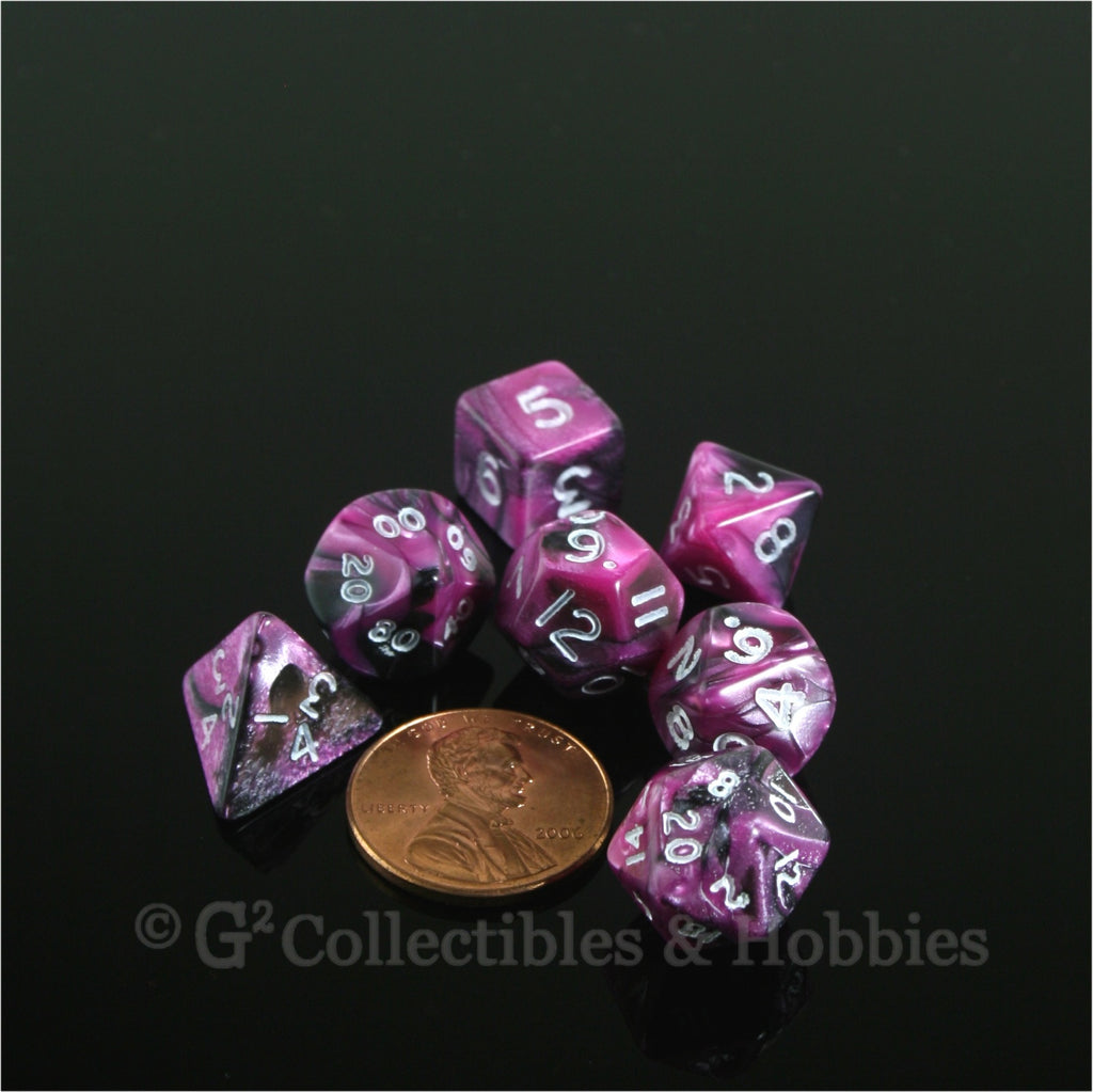 Miniature RPG Dice Set Toxic Pink Black with White Numbers 7pc