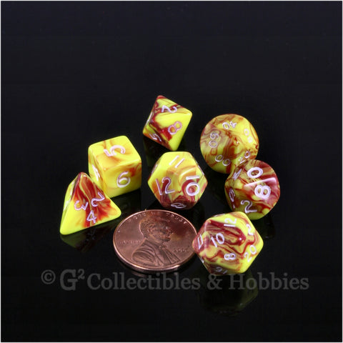 Miniature RPG Dice Set Toxic Red Yellow with White Numbers 7pc