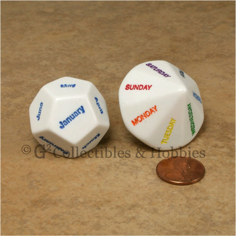 D12 Months of the Year & D14 Days of the Week Dice Set