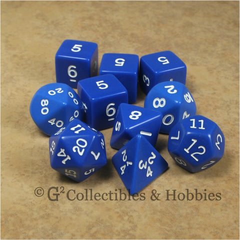 RPG Dice Set Opaque Blue with White Numbers 10pc