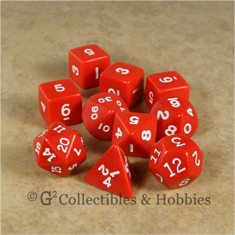RPG Dice Set Opaque Red with White Numbers 10pc