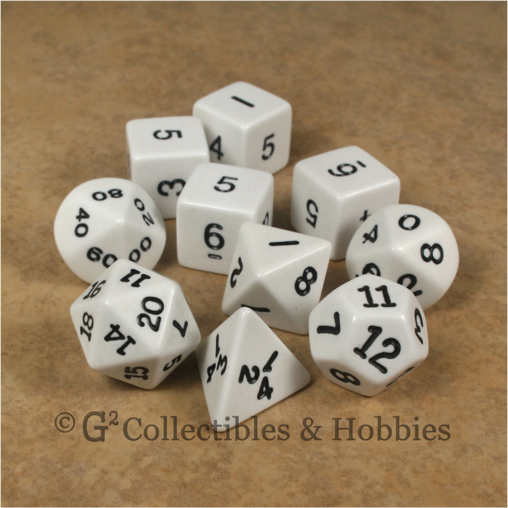 RPG Dice Set Opaque White with Black Numbers 10pc