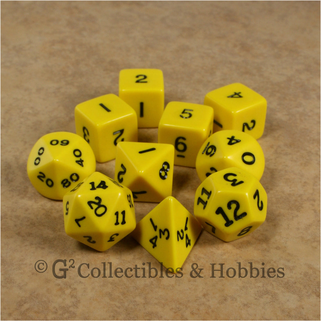 RPG Dice Set Opaque Yellow with Black Numbers 10pc