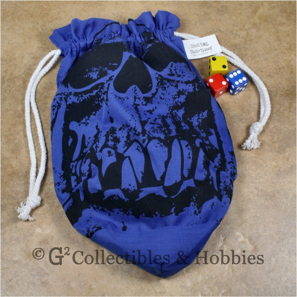 Dice Bag: Extra Large Orc Skull Blue Dice Bag