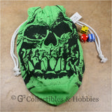 Dice Bag: Extra Large Orc Skull Green Dice Bag