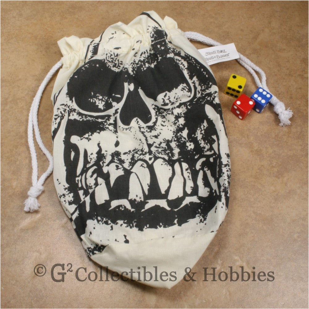 Dice Bag: Extra Large Orc Skull Ivory Dice Bag