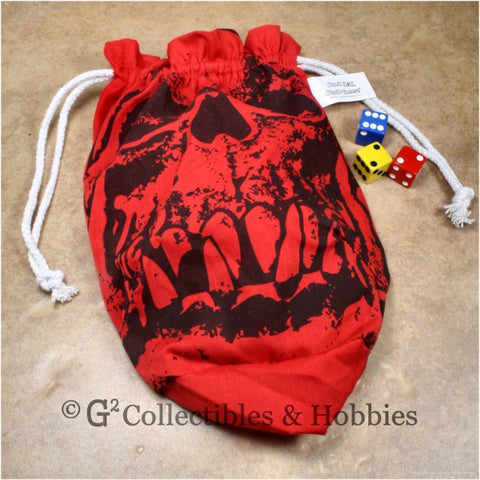 Dice Bag: Extra Large Orc Skull Red Dice Bag