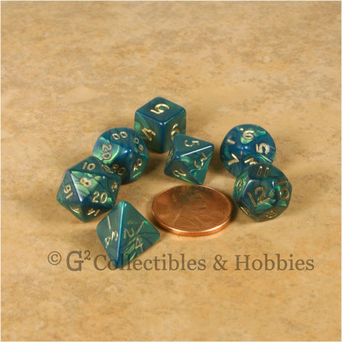 Miniature RPG Dice Set Otherworld Green with Gold Numbers 7pc