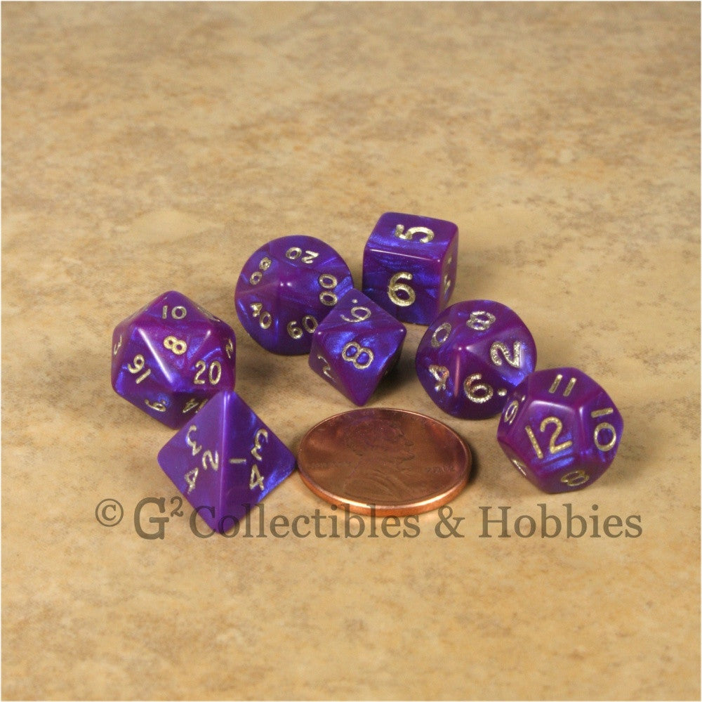 Miniature RPG Dice Set Otherworld Purple with Gold Numbers 7pc