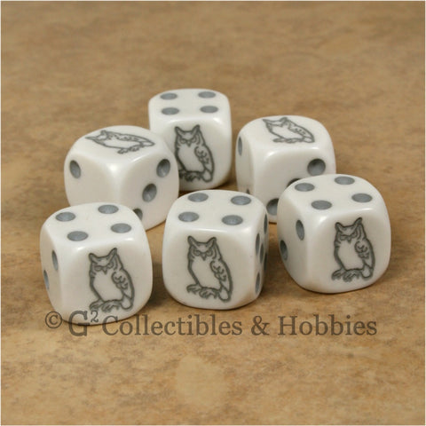 Owl 6pc Dice Set - Grey Owl