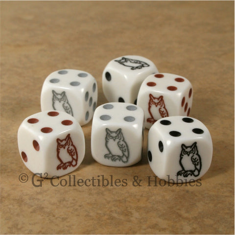 Owl 6pc Dice Set - Black Brown & Grey Owl