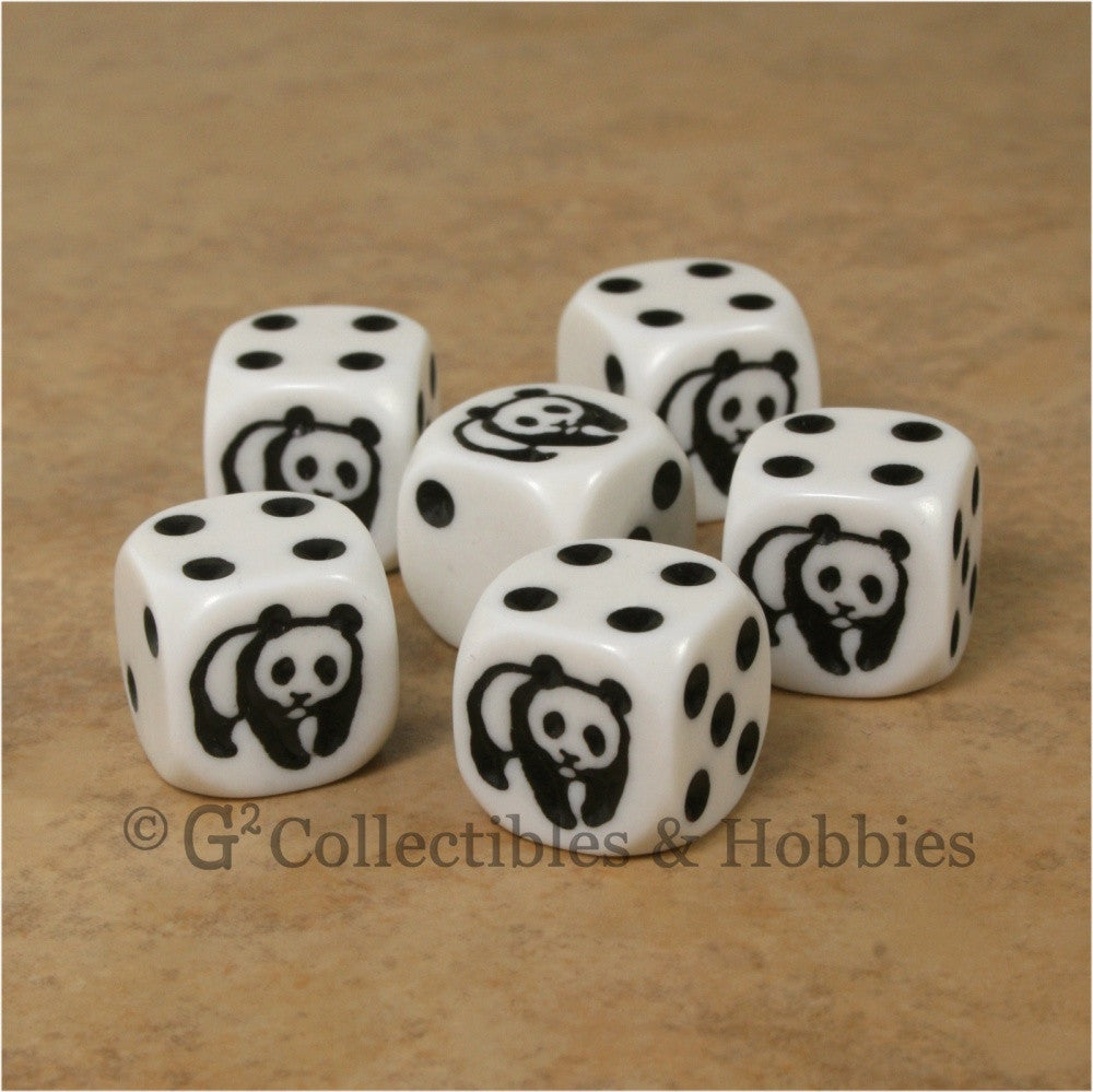 Panda 6pc Dice Set - White