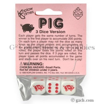 Pig Dice Game - 3 Dice in Bag
