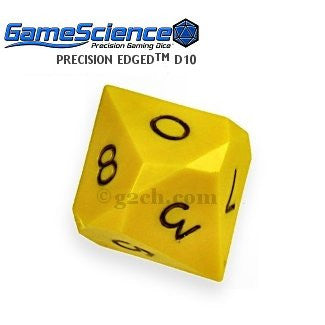 D10 Opaque Yellow Gamescience Precision Die