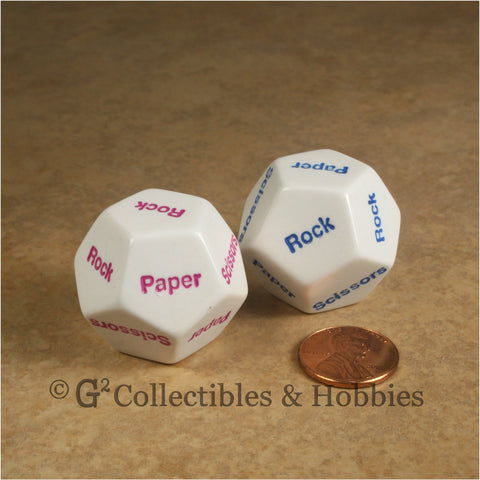 D12  Paper Scissors Rock Dice Pair