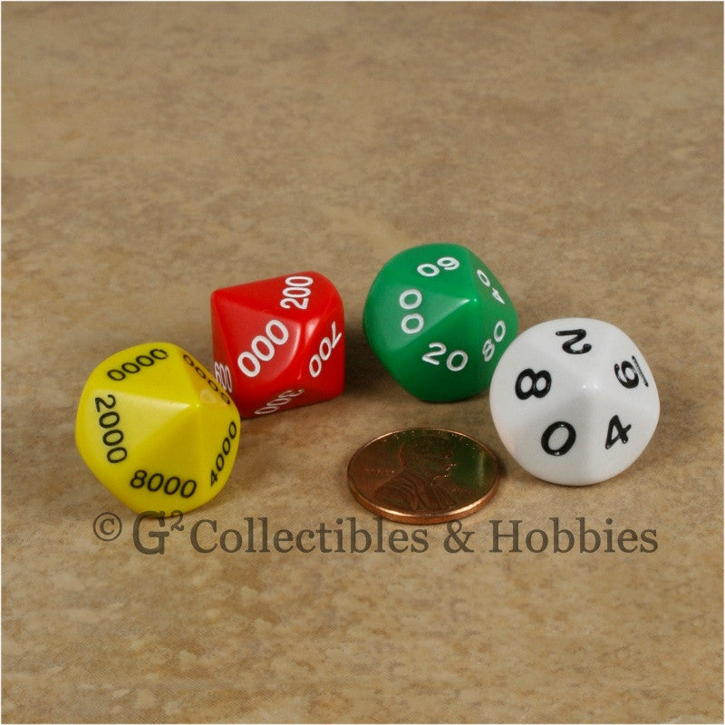 D10 Opaque Multi-Color Place Value Dice Tens 4pc Set