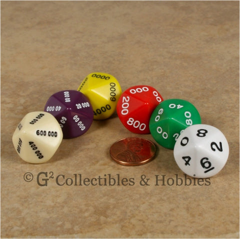 D10 Opaque Multi-Color Place Value Dice Tens 6pc Set