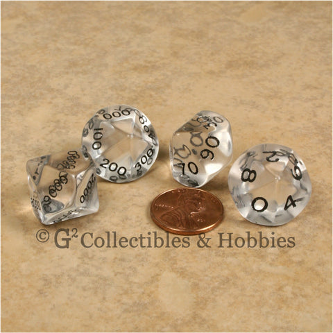 D10 Transparent Clear Place Value Dice Tens 4pc Set