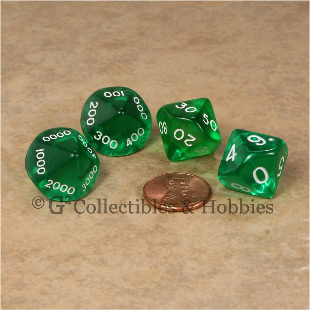 D10 Transparent Green Place Value Dice Tens 4pc Set