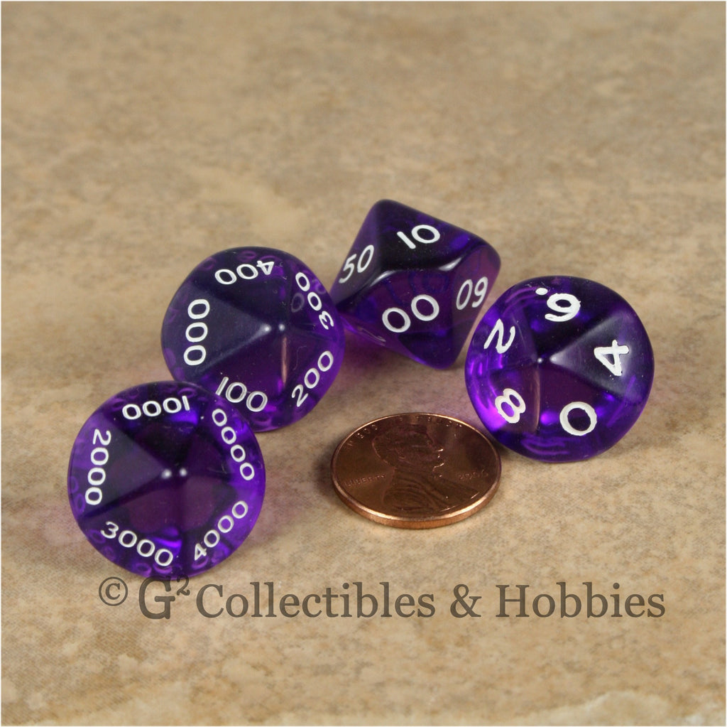 D10 Transparent Purple Place Value Dice Tens 4pc Set